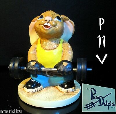 NEW Pendelfin Precious , gym weightlifter  figurine rabbit Bunny w/ Box