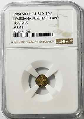 1904 1/4 Mo H-61-310 Louisiana Purchase Expo Gold Commemorative NGC MS63 10 Star