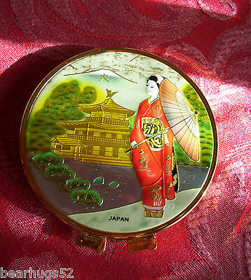 Japanese Geisha Girl in Enamel - Compact Hinged Mirror for Handbag Made in Japan