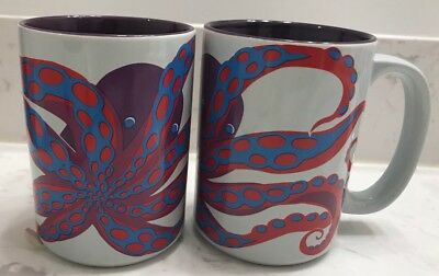 Turquoise Octopus Coffee Mug Ceramic Kitsch'n Glam Purple Red And Blue Colors