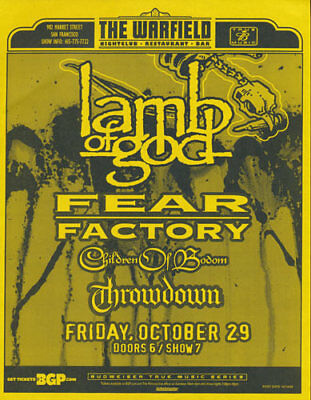 Lamb of God Fear Factory Children of Bodom Warfield San Francisco Flyer Yellow