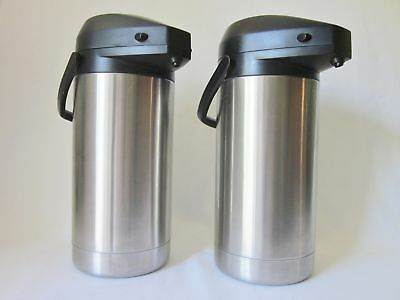 Lot of 2 Airpot 3.5L / 118 oz. Coffee Dispensers Hormel SV-350 Stainless Steel