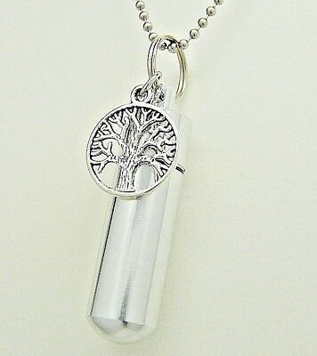 Tree Of Life Urn Necklace Cremation Jewelry Memorial Keepsake Cylinder Pendant