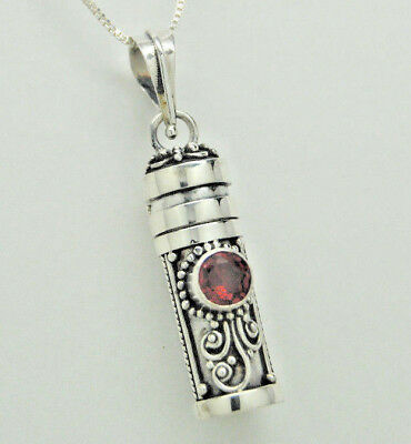 Garnet in Sterling Silver Cremation Urn Necklace || January Ashes Keepsake