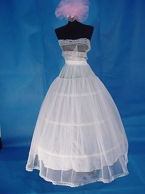 3 Hoops 2 Layers White Wedding Bridal Crinoline Petticoat Slip Underskirt
