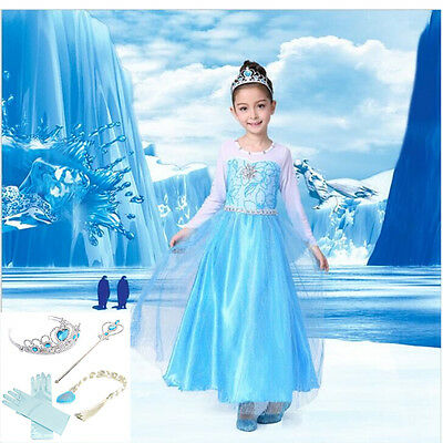 Hot Frozen Girls Elsa Dresses Princess Anna Costume Party Cosplay for Gift