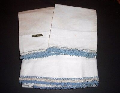 Vtg New Full Flat Bed SHEET & 2 PILLOWCASES~White w/Blue Tatting Crochet Trim