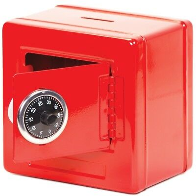 Tobar Gifts Metal Combination Money Piggy Bank Safe Box – Red Or Black Available