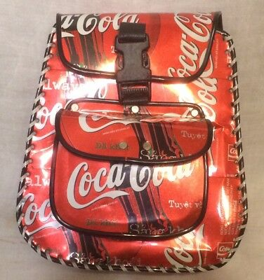 "Original Coca Cola Mini Backpack Knapsack made from Asian Coke Cans: 7.5"" X 7"""