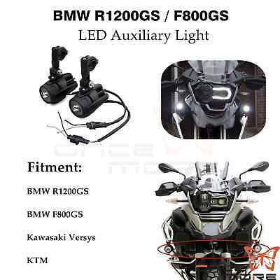 LED Fog Light Auxiliary Lamp & Wiring Harness For BMW R1200GS F800GS Versys KTM