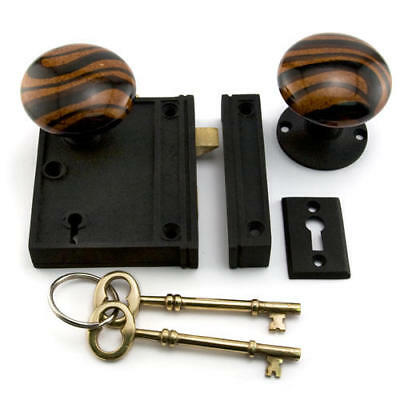 Signature Hardware Vertical Rim Lock Set with Striped Brown Porcelain Knobs