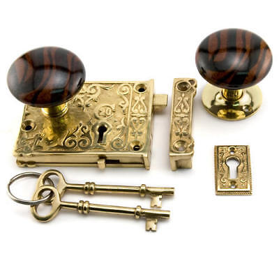 Ornate Solid Brass Rim Lock Set with Striped Brown Porcelain Knobs