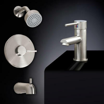 Rotunda Straight Spout Tub and Shower Set with Single Hole Sink Faucet