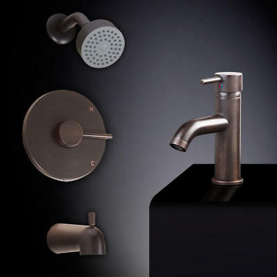Rotunda 4 Piece Tub and Shower Set with Curved Single Hole Sink Faucet