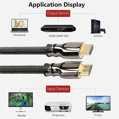 Hot Braided Ultra HD HDMI Cable v2.0 High Speed Ethernet HDTV 2160p 4K 3D 1-5 m