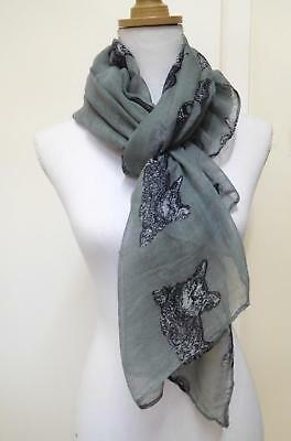 Ladies' Scarf, Grey With Black Reclining Cats - 01067