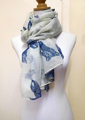 Ladies' Scarf, White With Navy Blue Reclining Cats - 01065