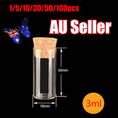 1-100x Blank Tiny Small Glass Test Tube With Cork Stopper Borosilicate Chemistry