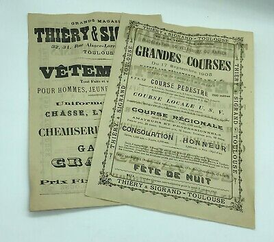 "Ancienne Affiche, Tract, Pub ""grandes Courses"" 1905 Inauguration Velodrome"