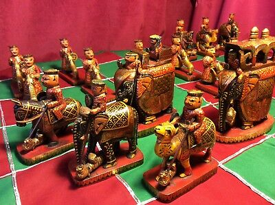 Complete Chess Set Hand Carved Tiger Wood Elephant Collectors Vintage Queen 13cm