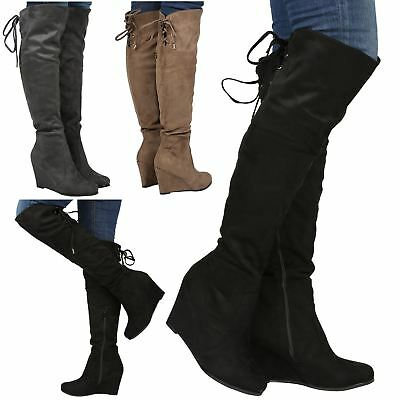 Billie Womens Mid High Wedge Heel Tie Fold Down Ladies Over Knee Calf Boots Size