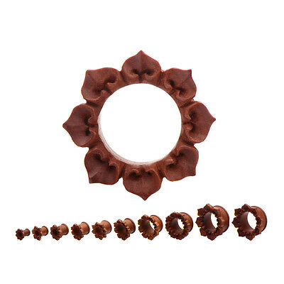 Pair of Organic Red Flower Hand Carved Wood Plugs Tunnels Ear Gauges 2g - 1 inch