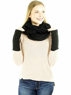 Exotic Identity Women's Cable Knit, 2 Piece 'Aurora' Gift Set - Infinity Scar...