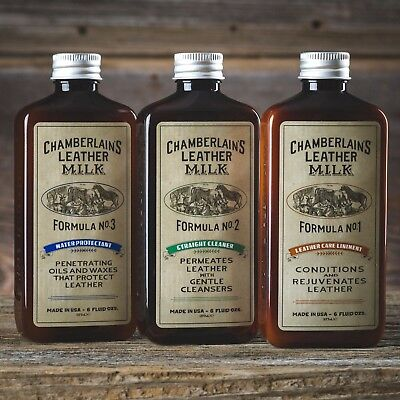 Chamberlain's Leather Care Liniment 1, Straight Cleaner 2, Water Protectant 3