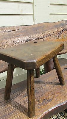 Antique rustic stool country kitchen elm