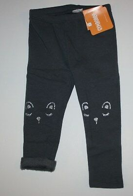New Gymboree Warm and Fuzzy Gray Fleece Glitter Face Leggings NWT Size 3T 4T 5T