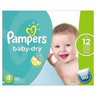 Brand New Pampers Baby Dry Diapers Size 4, 180 Count  Free Shipping!