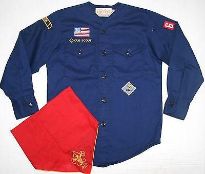 BSA Boy Scouts of America Official Blue Cub Scout Den Shirt & Scarf Combo