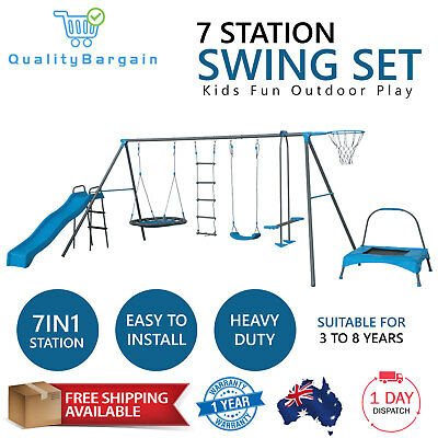 7 Station Outdoor Swing Set Kids Children Playground Slide Trampoline Basketball