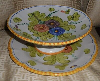 Large VIETRI SOLIMENE Platter & Compote, Hand Painted Flowers, BlueYellow, ITALY