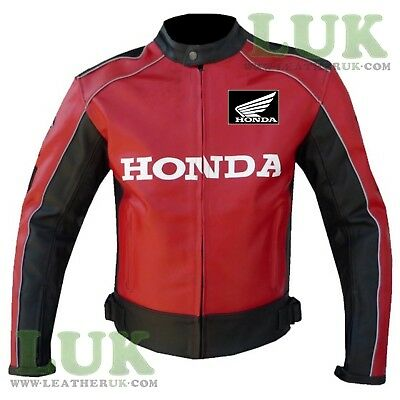 HONDA 5522 Red A Grade Leather Biker Jacket Armoured Motorcycle Motorbike Coat