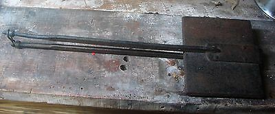 """Vintage Antique Forged Cast Iron Fireplace Open Fire Waffle Iron Press - 26 3/4"""""""