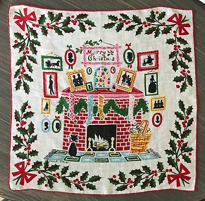CARL TAIT Christmas Hankie/handkerchief with stockings hung by fireplace