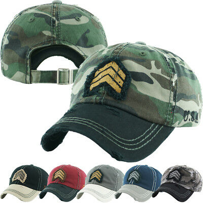 Military Rank Vintage Distressed Dad Hat Washed Baseball Cap