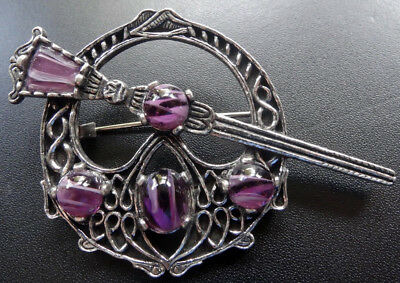 vintage MIRACLE 1970s purple rhinestone glass Scottish celtic knot brooch A367