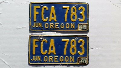 OREGON LICENSE PLATES PAIR 1964 - 1974 with 1973 Tag
