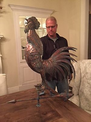 HUGE Handcrafted 3 Dimensional Crowing ROOSTER Weathervane Copper Patina Finish