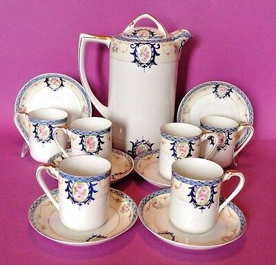 Noritake Blue Trimmed Set - Chocolate Coffee Tea Pot With 6 Cups And Saucers