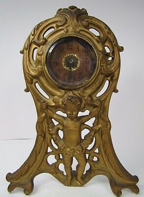 Antique 19c Cherub Scrollwork Clock orig old gold bevel edge glass Pat Applied