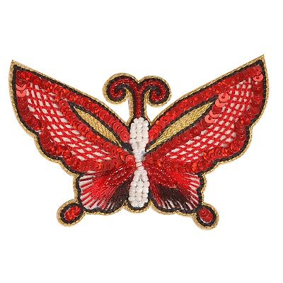 Sanskriti New Patch Applique Hand Beaded Butterfly Sequins Pearls Red