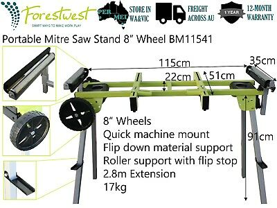 "Portable 2.8m Mitre Saw Stand with 8"" Wheel Foldable Legs Extendable Support"