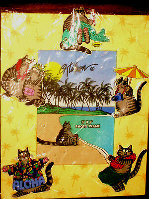 Fun Vintage B Kliban 5 X 7 Photo Frame Cats & More Cats Hawaii Island Scenes 3D