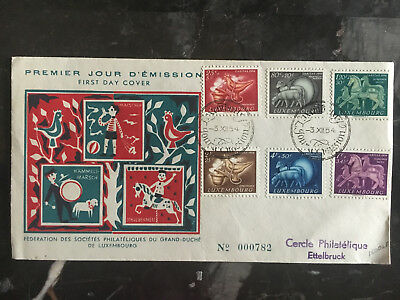 1954 Luxembourg First Day Cover FDC # B180-B185