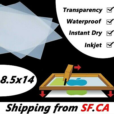 "8.5"" x 14"",Premium Waterproof  Inkjet Transparency Film Paper 25 sheets"