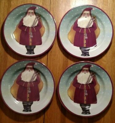 "Set of 4 Block Gear Father Christmas salad dessert plates 8"" Santa Claus 1995"