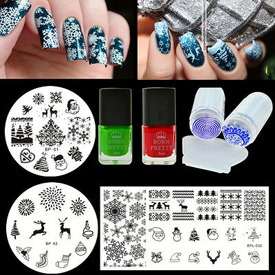 7pcs Born Pretty Christmas Nail Art Stamping Plates Polish Stamper W Ser Kit